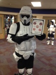 a scout trooper reminding us about the library rules